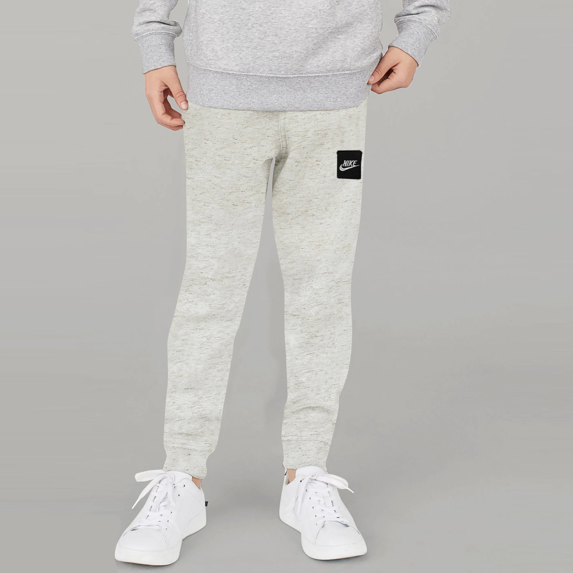 NK Terry Fleece Slim Fit Jogger Trouser For Kids-Off White Melange-SP1300