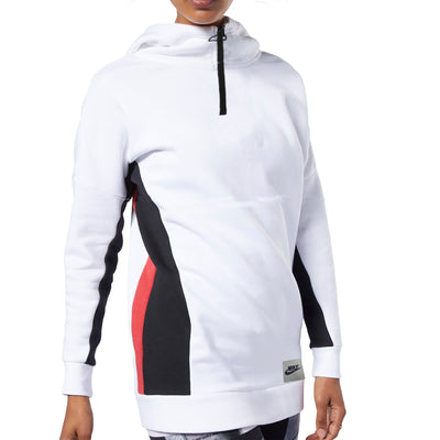 NK Fleece 1/4 Zipper Hoodie For Ladies-White With Red & Black-SP1311
