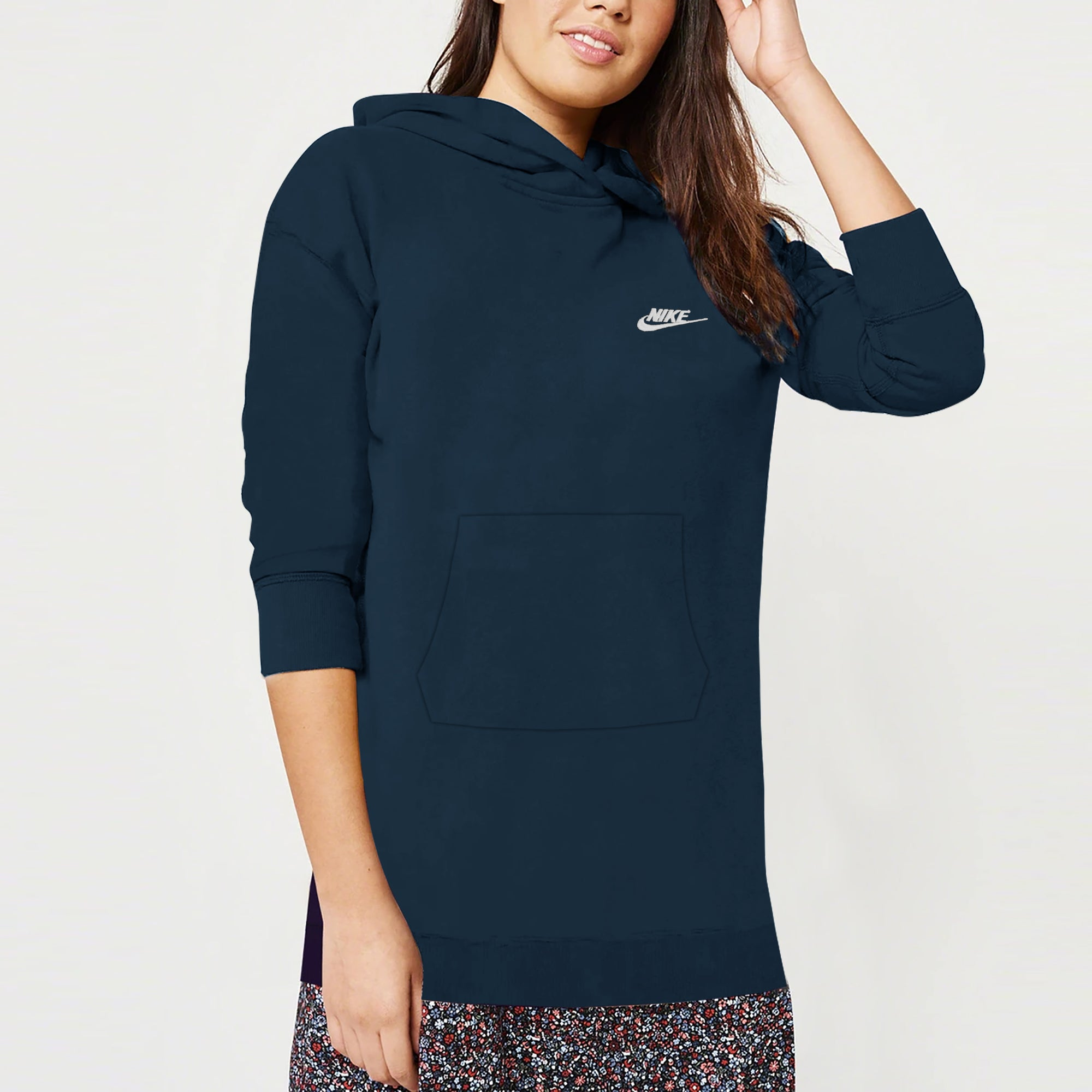NK Terry Fleece Long Line Pullover Hoodie For Ladies-Ferozi-SP1325
