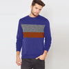 Next Fleece Crew Neck Sweatshirt For Men-Purple with Panels-SP1532