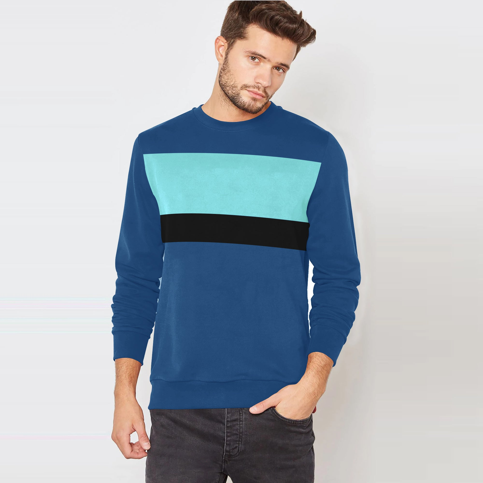 Next Terry Fleece Crew Neck Sweatshirt For Men-Sky Blue with Panels-SP1580