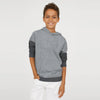 Next Fleece Pullover Hoodie For Kids-Grey Melange & Charcoal-SP1499