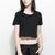 Popular Half Sleeve Crop Tee Shirt For Women-Black-NA11132