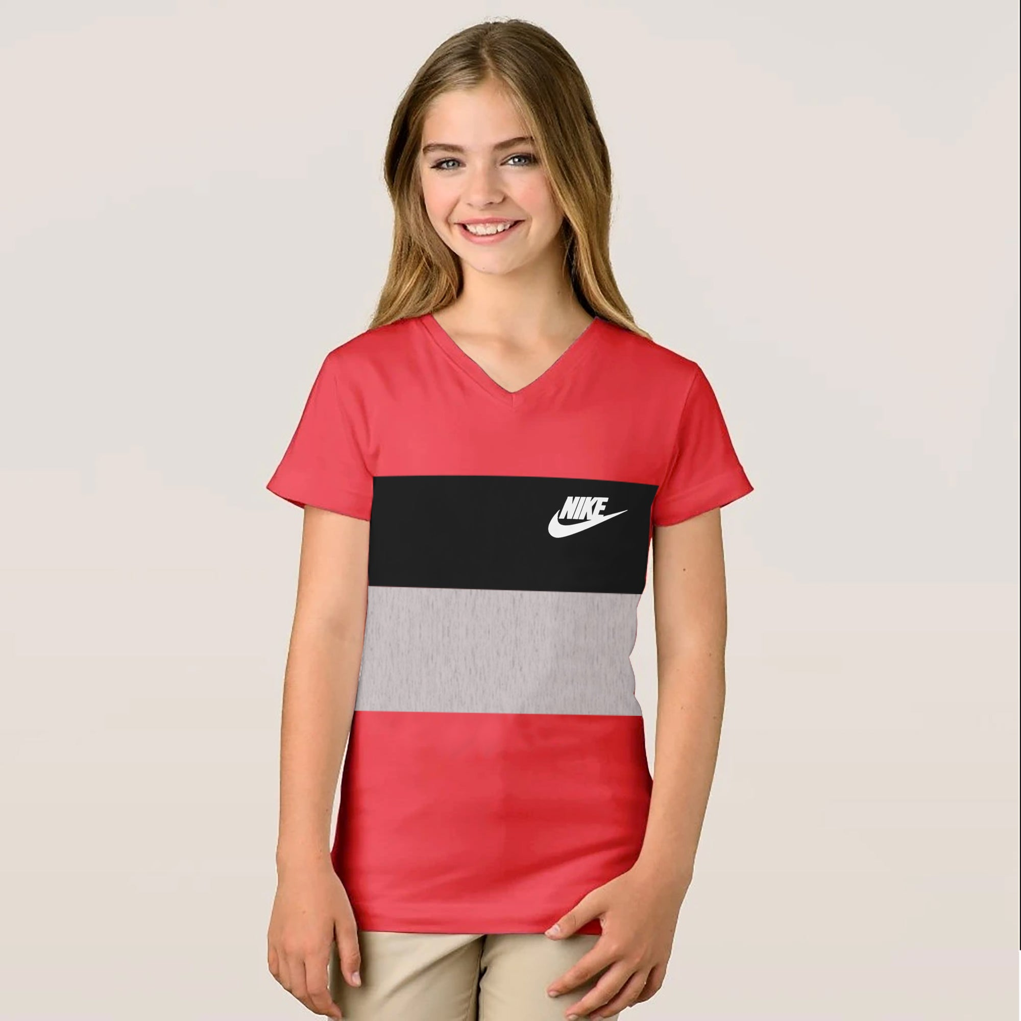 NK V Neck Single Jersey Short Sleeve Long Tee Shirt For Girls-Pink With Panels-SP1893