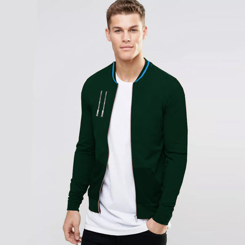 "Men's ""ZARA"" Full Sleeve Fleece Baseball Jacket-Dark Green-BE205"