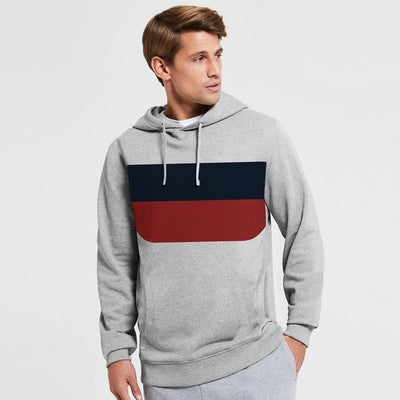 New Stylish Fleece Pullover Hoodie For Men-Grey Melange With Dark Navy & Carrot Red Panels-SP1671