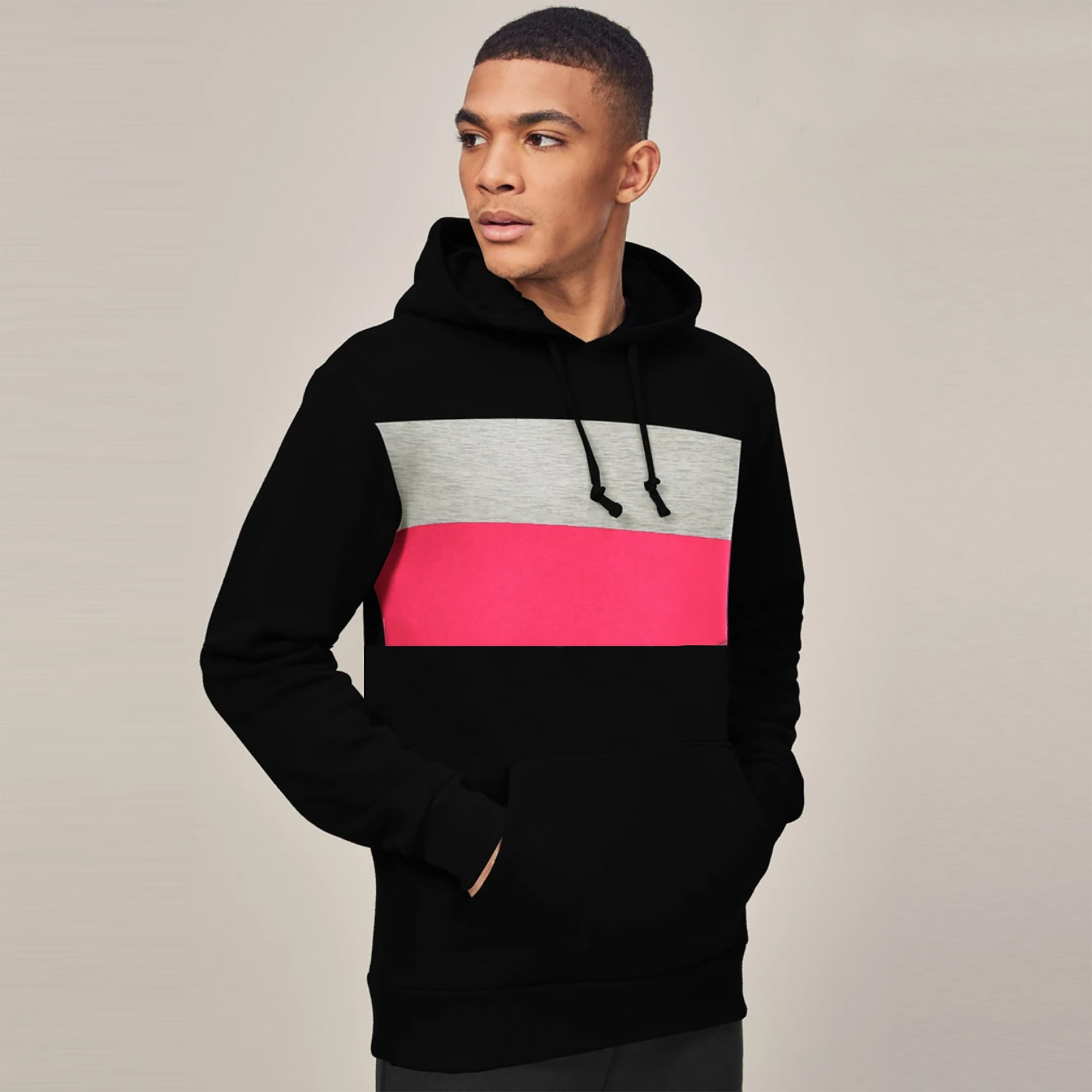 New Stylish Fleece Pullover Hoodie For Men-Black With Panels-SP1657