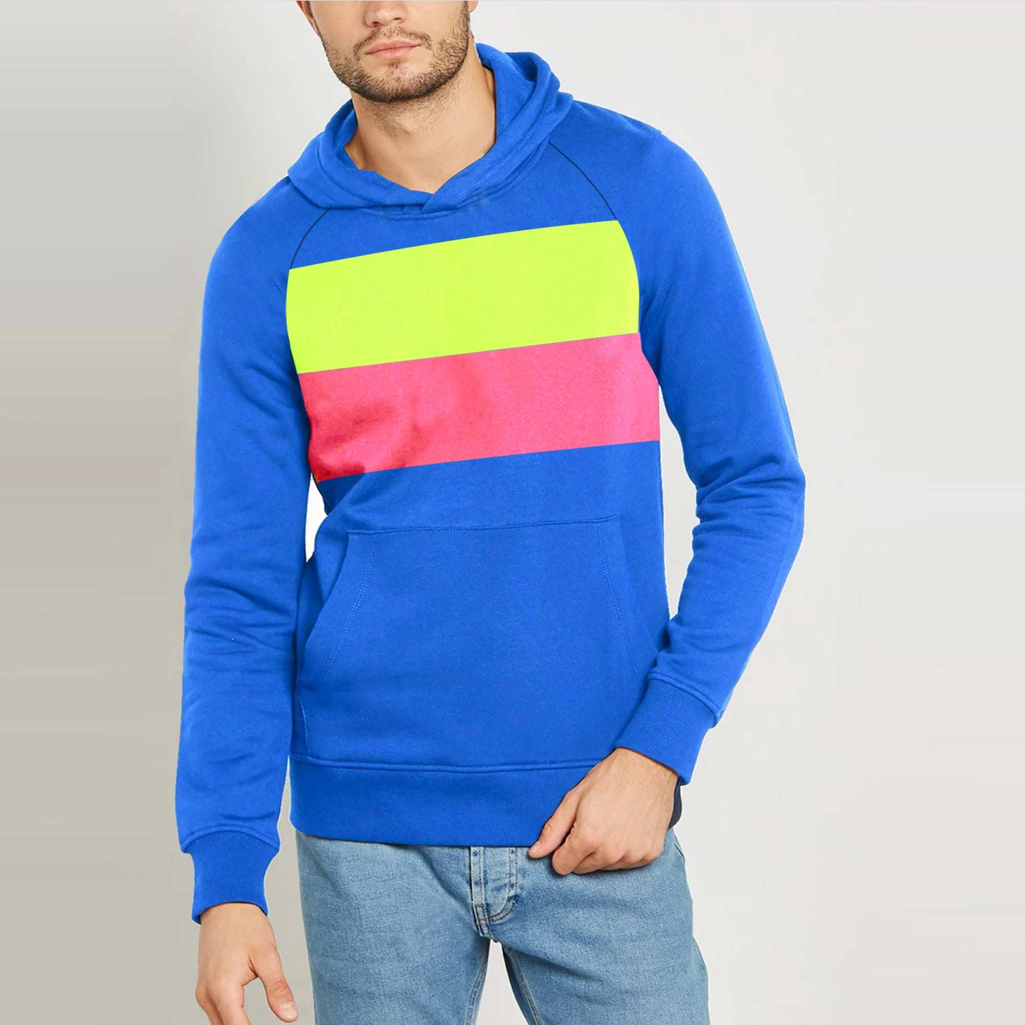 New Stylish Terry Fleece Pullover Hoodie For Men-Royal Blue With Parrot Green & Pink Panels-SP1659