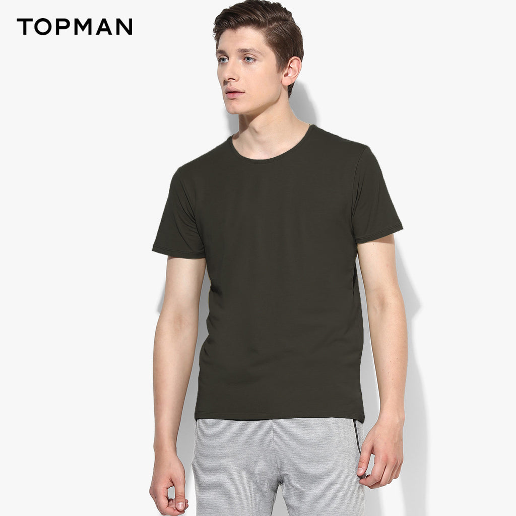 Topman Crew Neck T Shirt For Men Cut Label-Dark Olive Green-BE2585