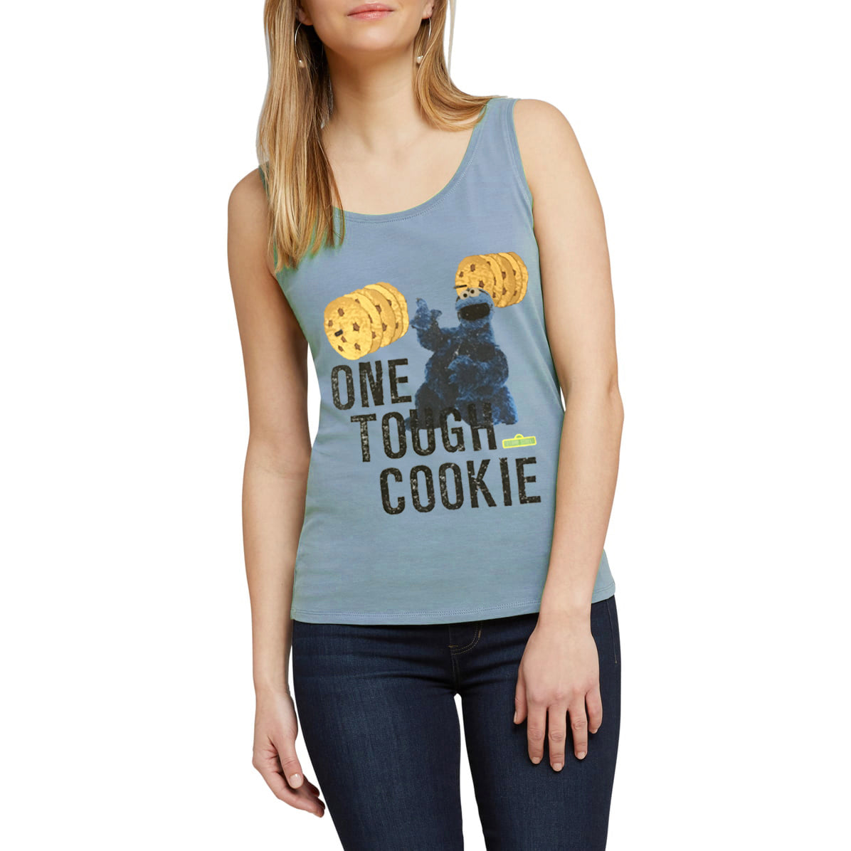 brandsego - Sesame Street Sleeveless Stylish Blouse For Ladies-Sky Blue-NA8706