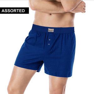 Classic Single Jersey Boxer Shorts For Men-Assorted-NA1107