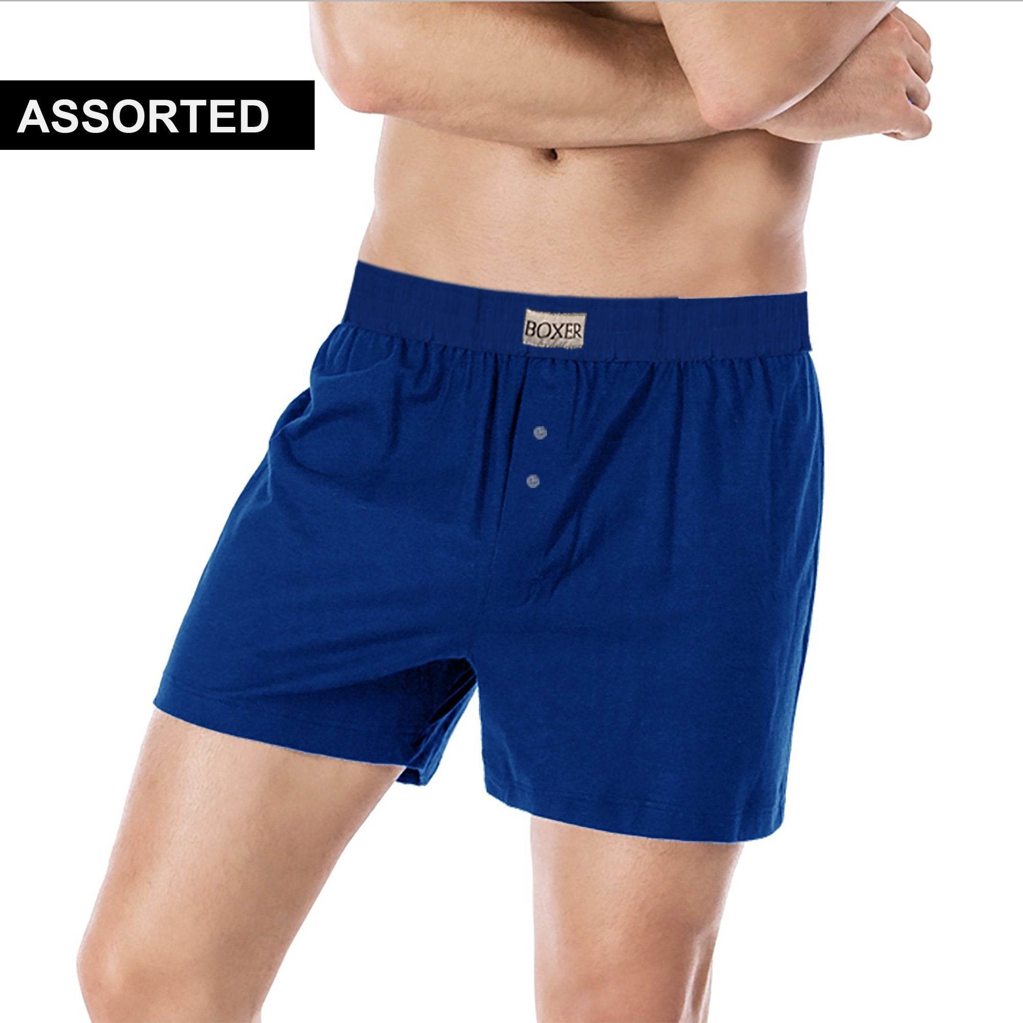 Single Jersey Classic Boxer Shorts For Men-Assorted-NA7768