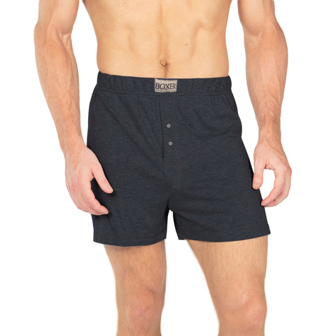 Single Jersey Classic Boxer Shorts For Men-Charcoal Melange-BE4194