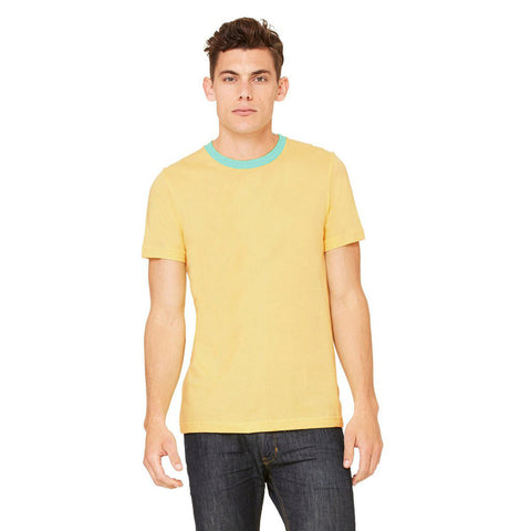 M&S Crew Neck T Shirt For Men - Light Yellow- BE2049