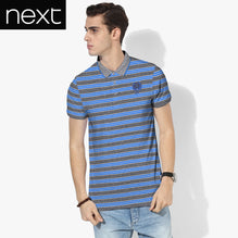 Next Polo Shirt For Men Cut Label-Charcoal Gray & Blue Striped-BE2518