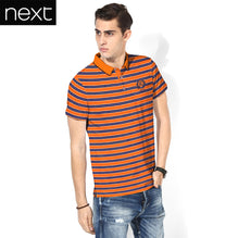 Next Polo Shirt For Men Cut Label-Orange & Dark Navy Striped-BE2516