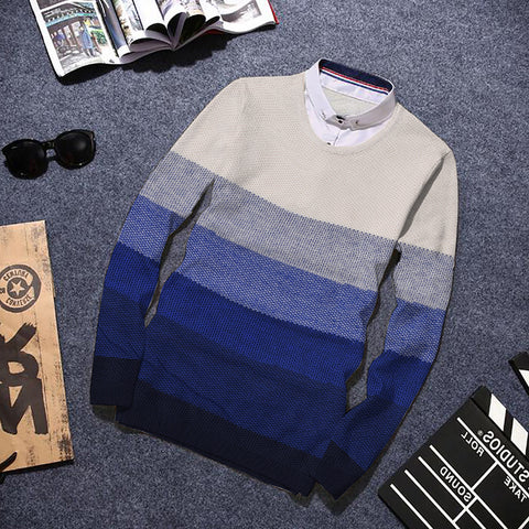 Strip Sweater  WS006BU For Men's By BUSHIRT PATLOON