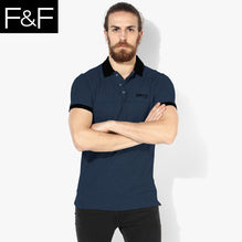 F&F Polo Shirt For Men Cut Label-Blue Melange-BE2488