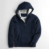 TAGG  Full Fur Inside 1/3 Zipper Hoodie For Men-Dark Blue Melange-NA7494