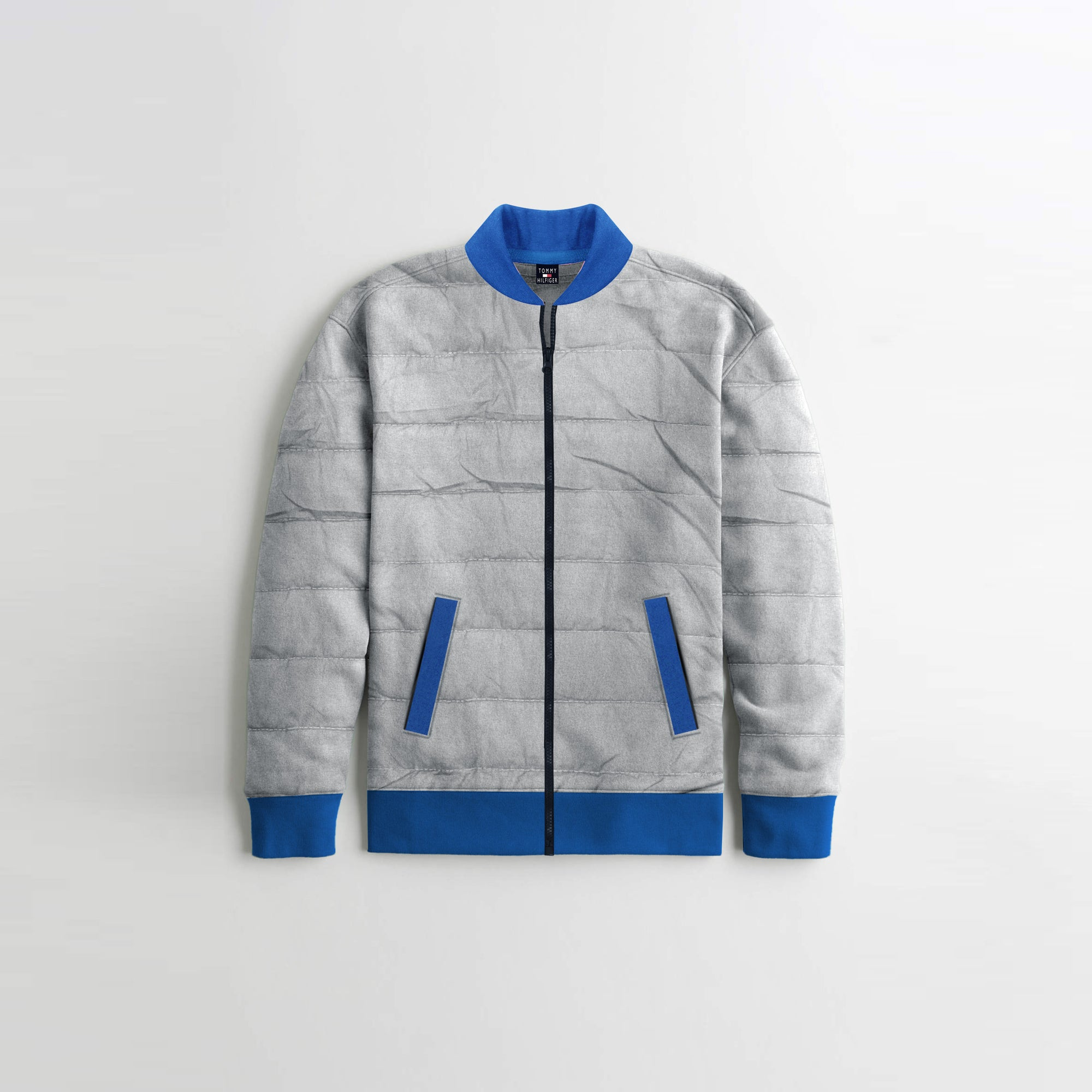 TH Quilted Zipper Baseball Jacket For Kids-Light Grey With Light Blue Contrast-NA12121