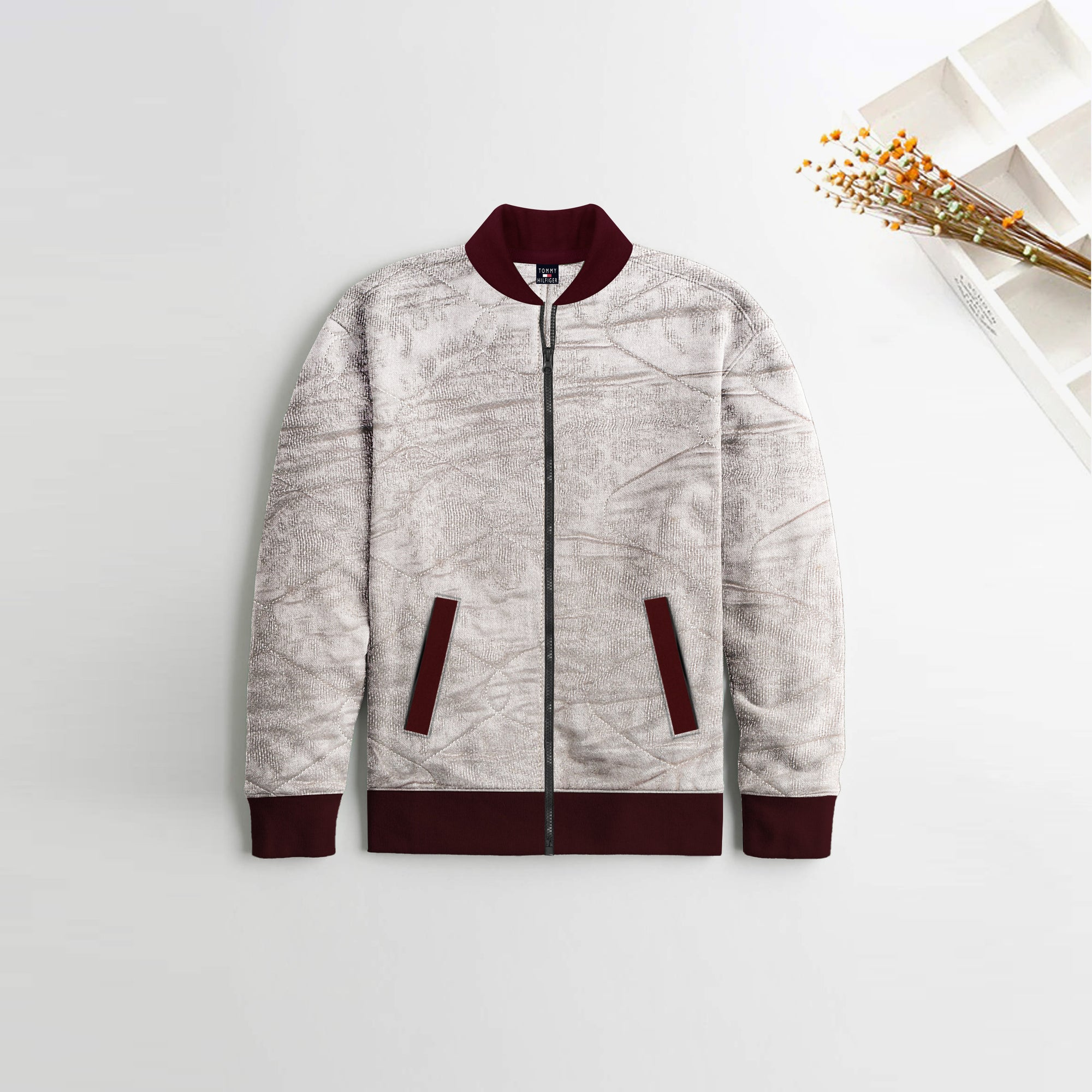 TH Quilted Zipper Baseball Jacket For Kids-Light Skin With Burgundy Contrast-NA12125