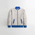 TH Quilted Zipper Baseball Jacket For Kids-Off White With Blue Contrast-NA12124