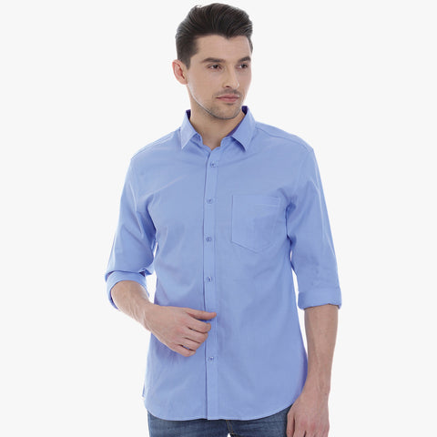 "Men's ""Uneek"" Full Sleeve Casual Shirt-Light Sky-BE2037"