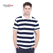 ChenOne Polo Shirt For Men Cut Label-White & Dark Navy Stripe-BE2482