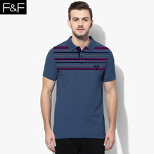 F&F Polo Shirt For Men Cut Label-Dark Blue With Striped-BE2492