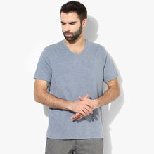 Next V Neck T Shirt For Men Cut Label-Light Blue Melange-BE2718