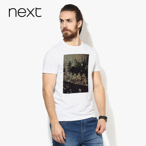 Next Crew Neck T Shirt For Men Cut Label-White with Black Melange-BE2583