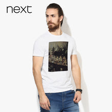 B Quality Next Crew Neck T Shirt For Men Cut Label-White with Black Melange-BE2583