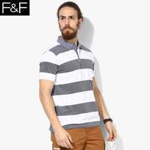 F&F Polo Shirt For Men-White & Navy Melange Stripe-BE2465