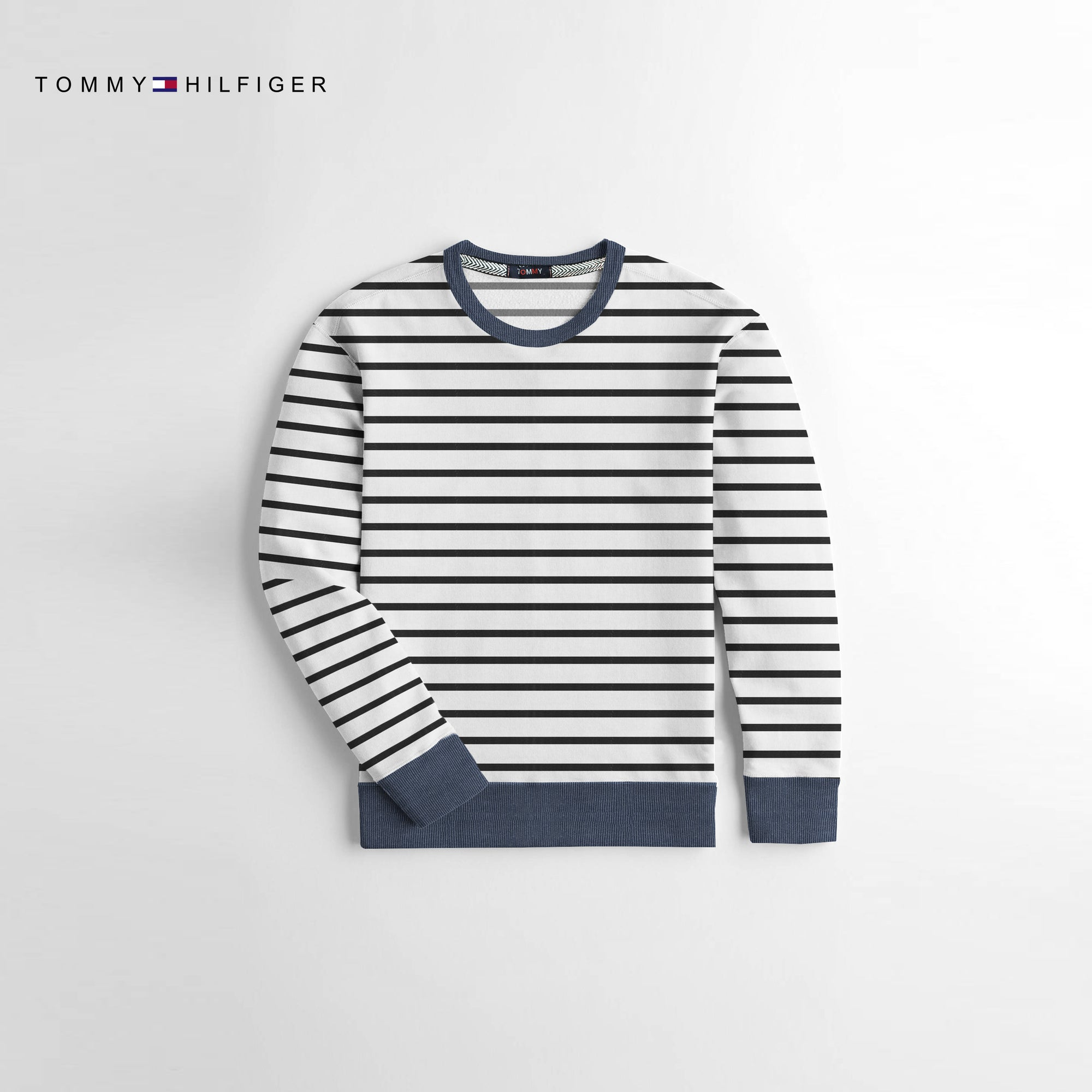 Tommy Hilfiger Crew Neck Fleece Sweatshirt For Kids-Black & White Striper-NA10664