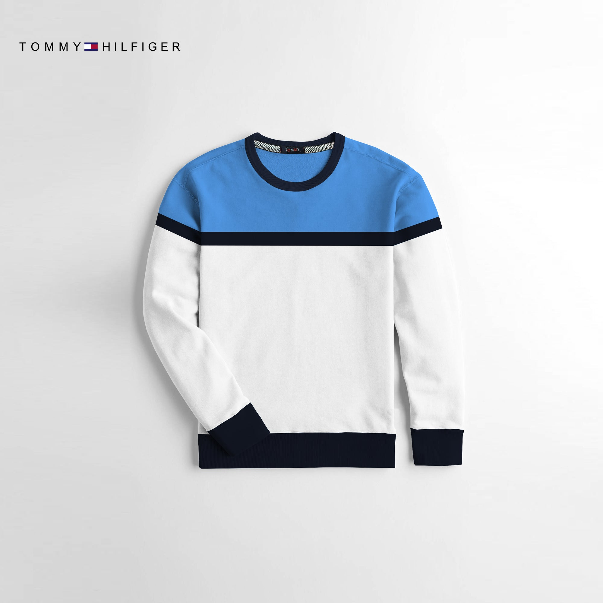Tommy Hilfiger Crew Neck Fleece Sweatshirt For Kids-Blue & White-NA10676