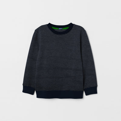 Tommy Hilfiger Crew Neck Fleece Sweatshirt For Kids-Dark Navy & Striper-NA7558