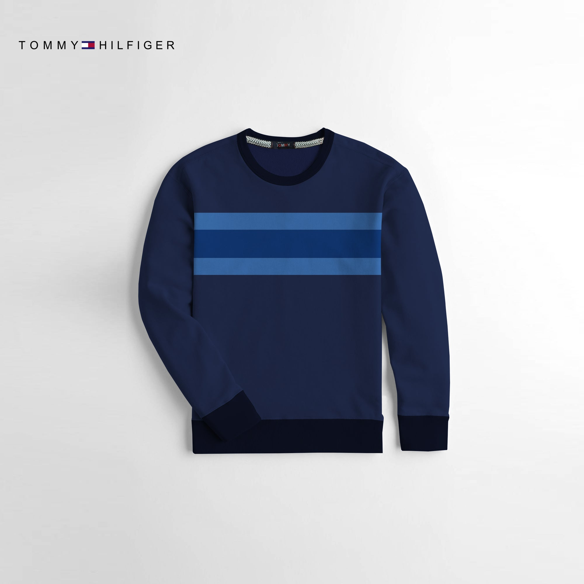 Tommy Hilfiger Crew Neck Fleece Sweatshirt For Kids-Dark Navy With Striper-NA10667