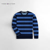 Tommy Hilfiger Crew Neck Fleece Sweatshirt For Kids-Navy & Blue Striper-NA10674