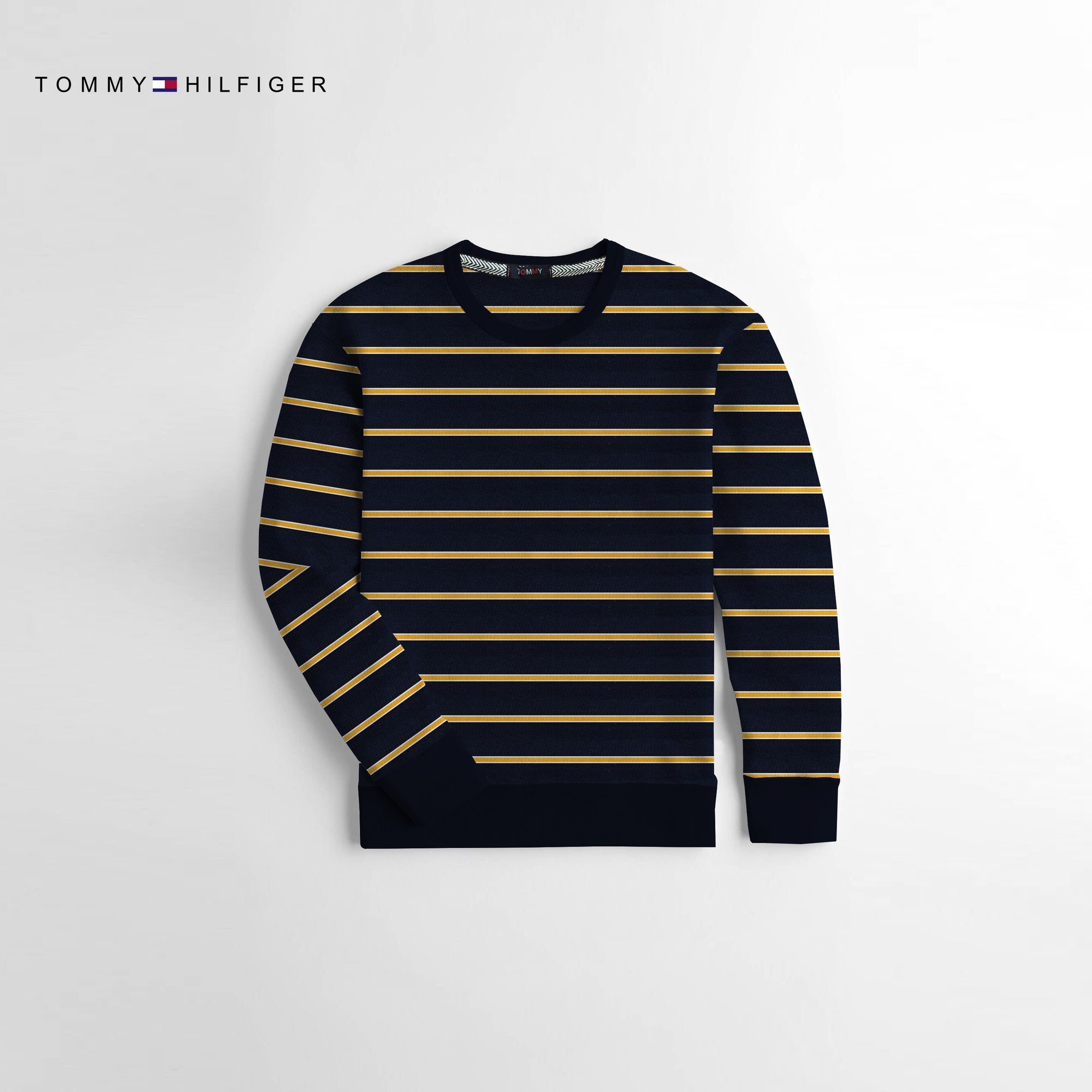 Tommy Hilfiger Crew Neck Fleece Sweatshirt For Kids-Navy & Yellow-NA10673