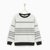 Tommy Hilfiger Crew Neck Fleece Sweatshirt For Kids-Off White With Striper-NA7735