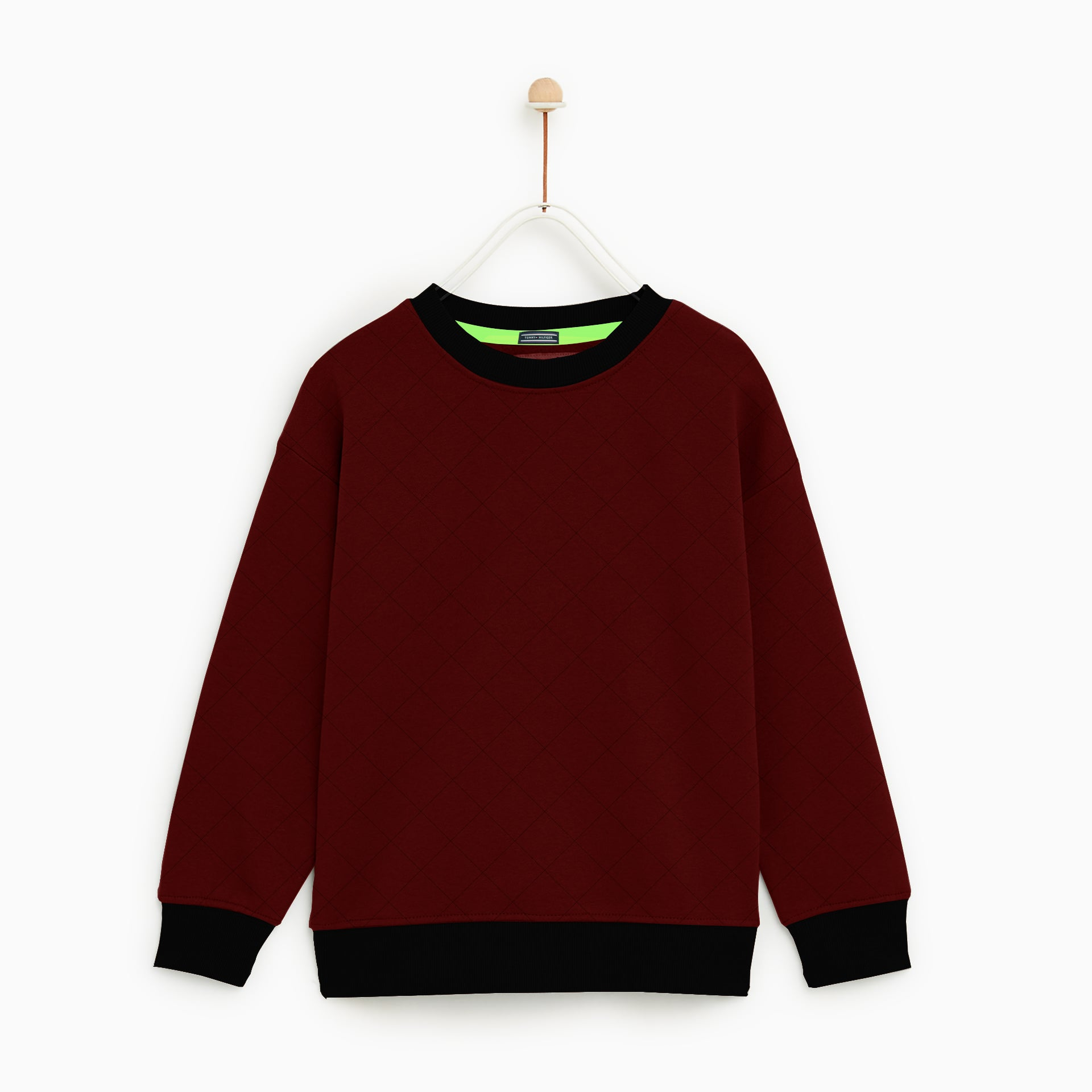 Tommy Hilfiger Crew Neck Quilting Fleece Sweatshirt For Kids-Dark Red-NA7733