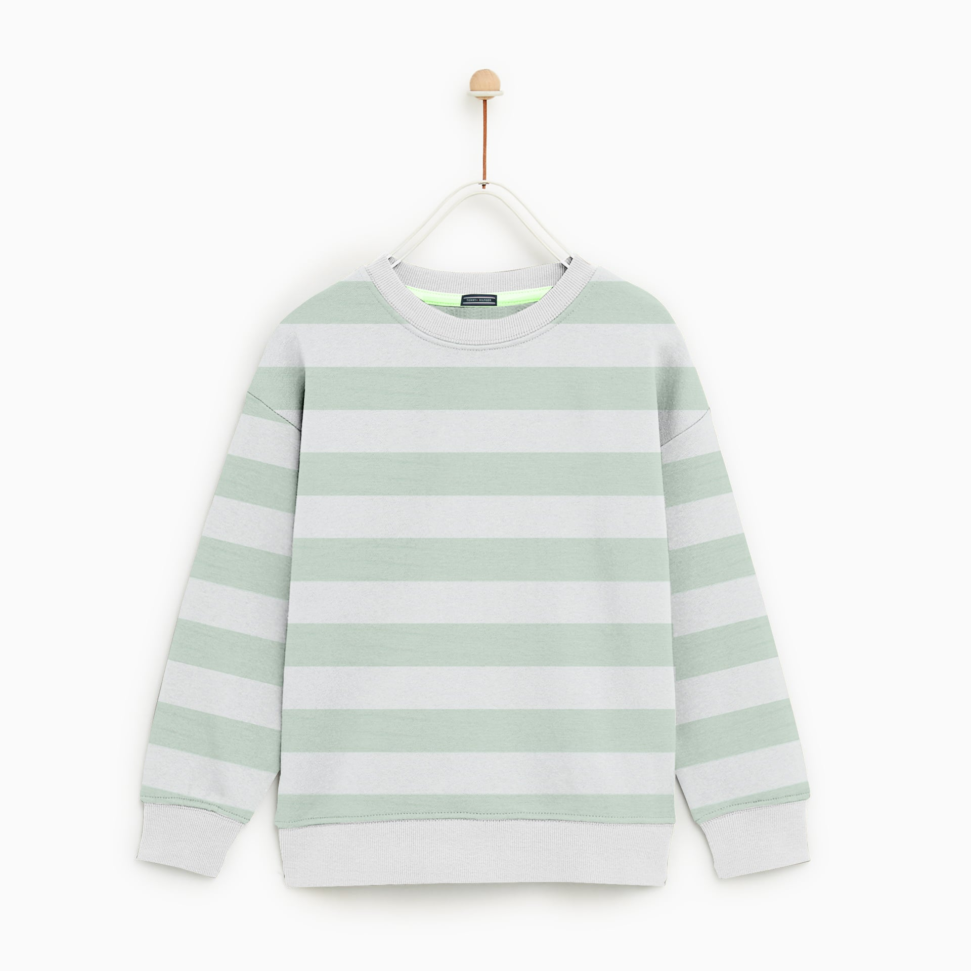 Tommy Hilfiger Crew Neck Single Jersey Sweatshirt For Kids-Light Green Striper-NA7745