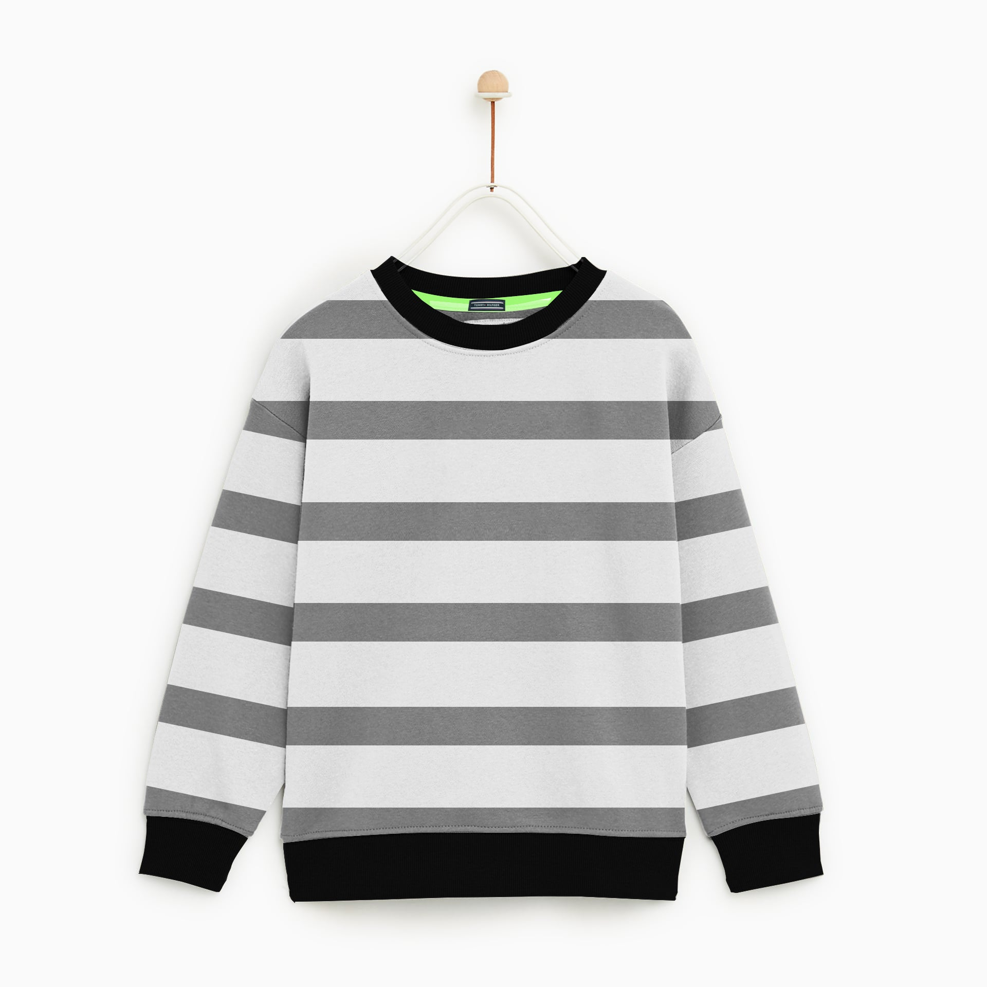Tommy Hilfiger Crew Neck Single Jersey Sweatshirt For Kids-Light Grey Stripes-NA7892