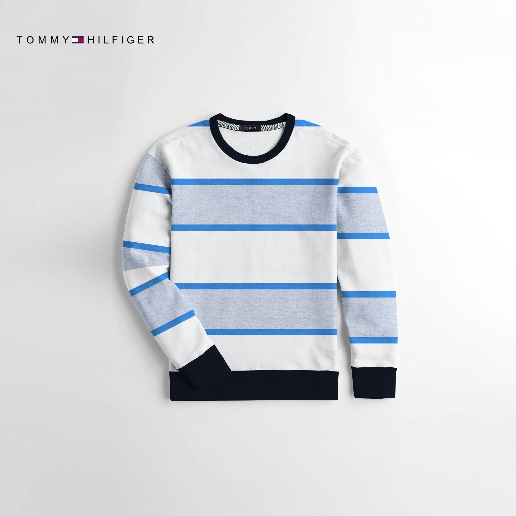 Tommy Hilfiger Crew Neck Terry Fleece Sweatshirt For Kids-Blue White & Grey-NA10677