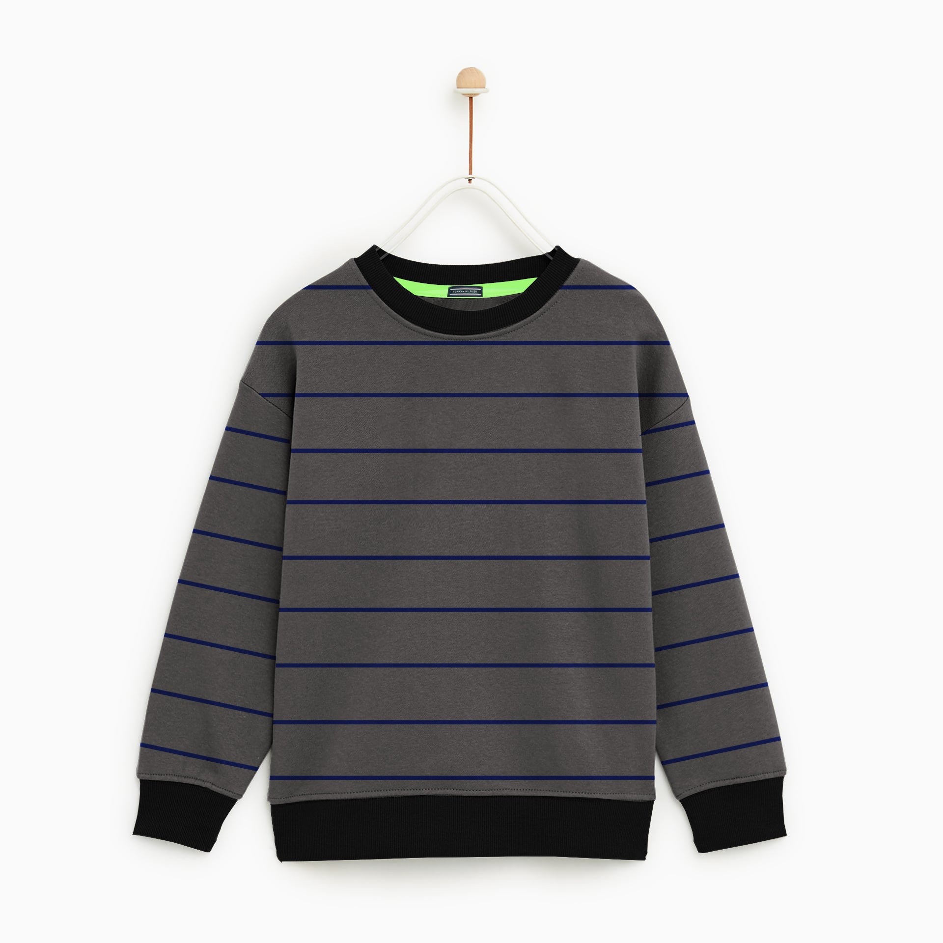 Tommy Hilfiger Crew Neck Terry Fleece Sweatshirt For Kids-Dark Grey & Blue Striper-NA7736