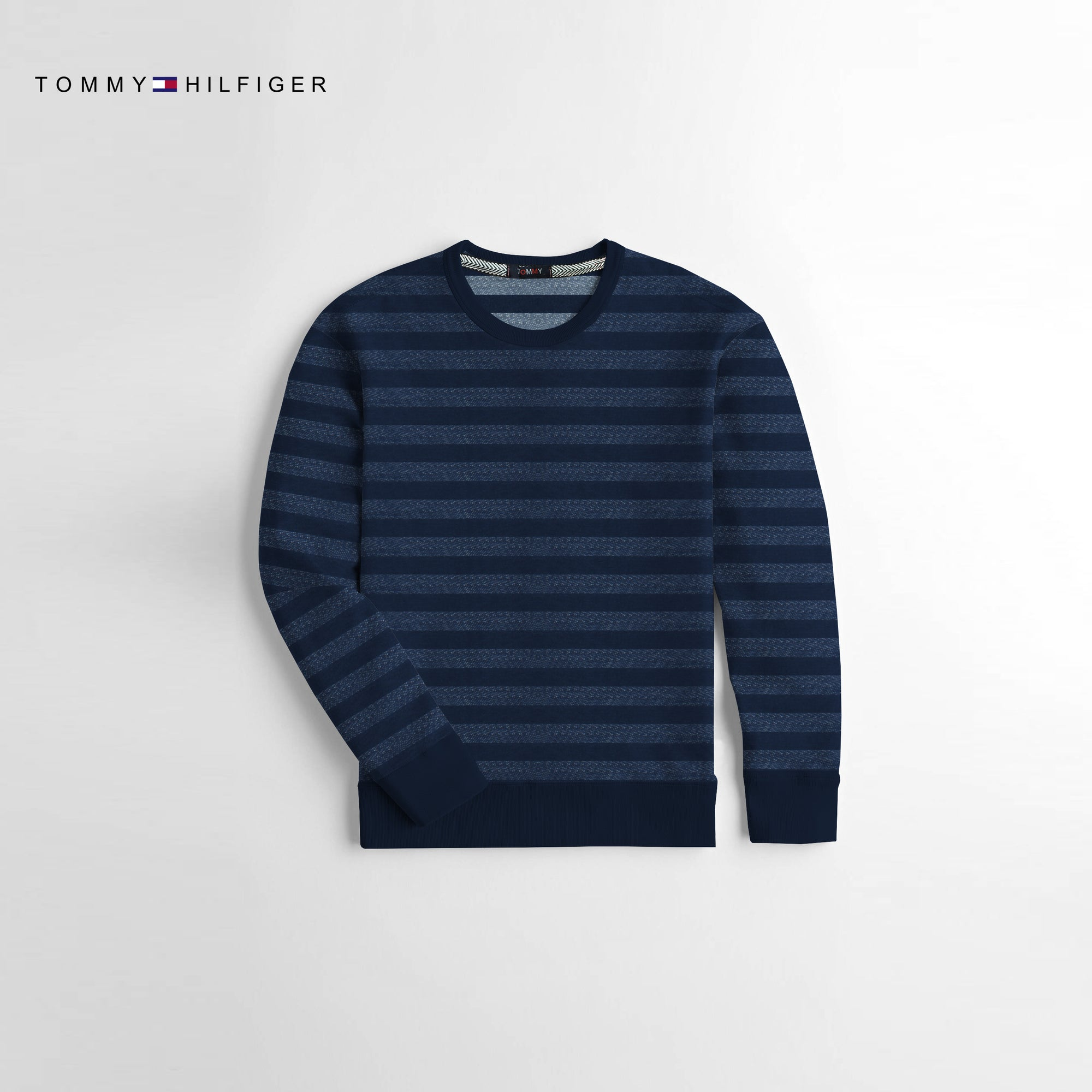 Tommy Hilfiger Crew Neck Terry Fleece Sweatshirt For Kids-Dark Navy Striper-NA10666