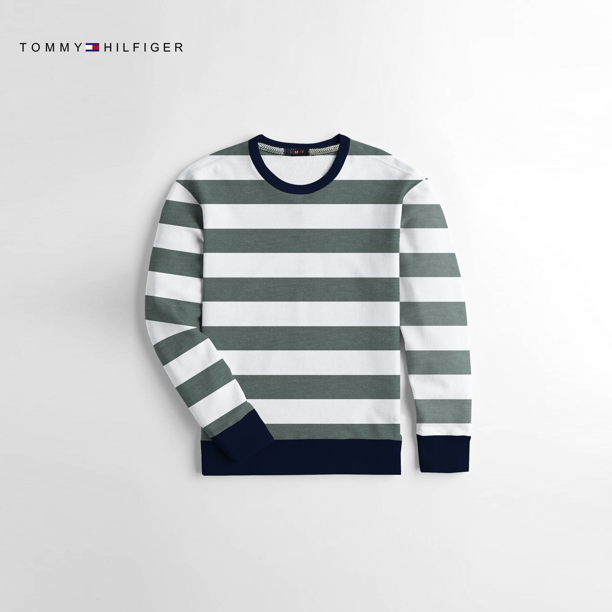 Tommy Hilfiger Crew Neck Terry Fleece Sweatshirt For Kids-Off White & Green Striper-NA10675
