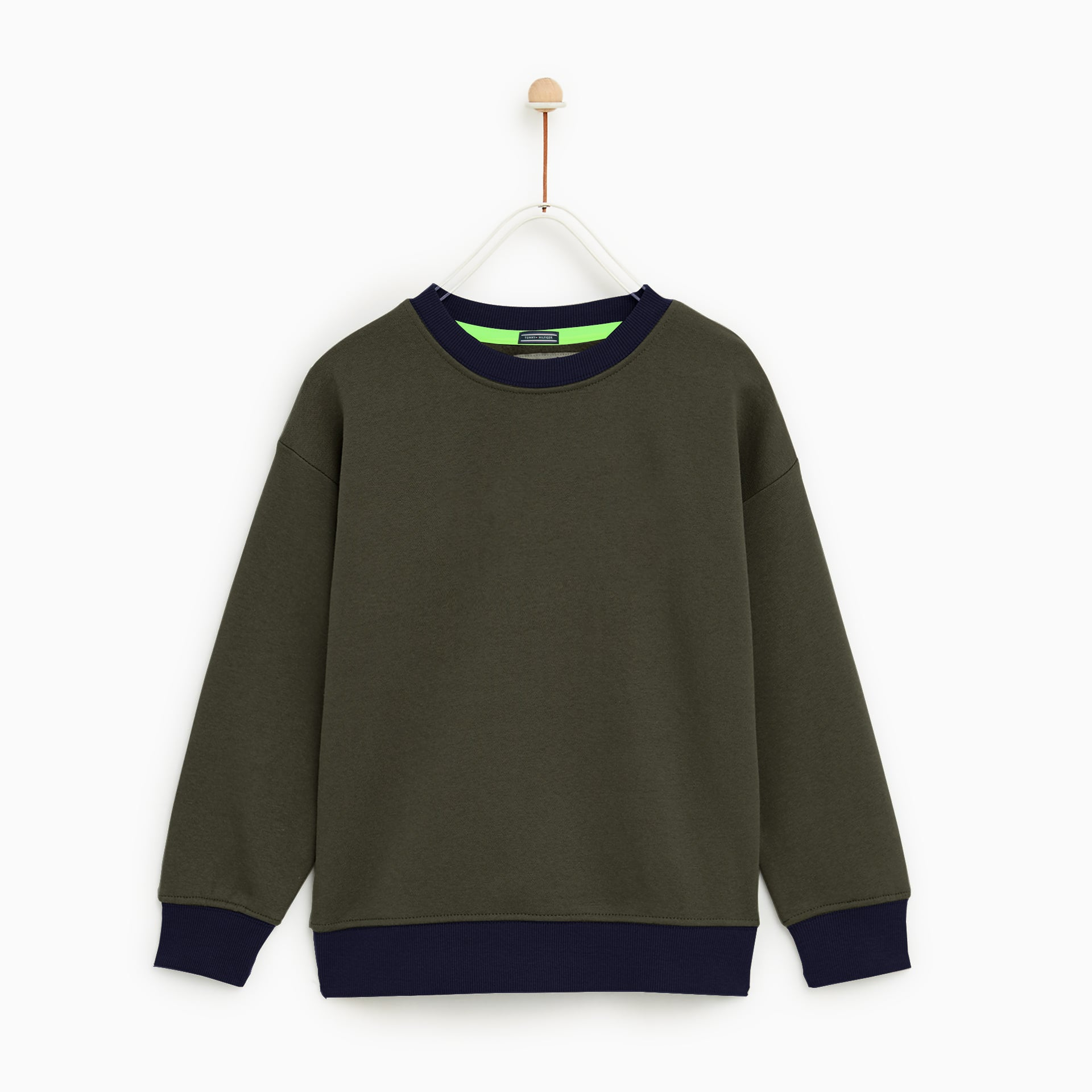 Tommy Hilfiger Crew Neck Terry Fleece Sweatshirt For Kids-Olive Green-NA7734