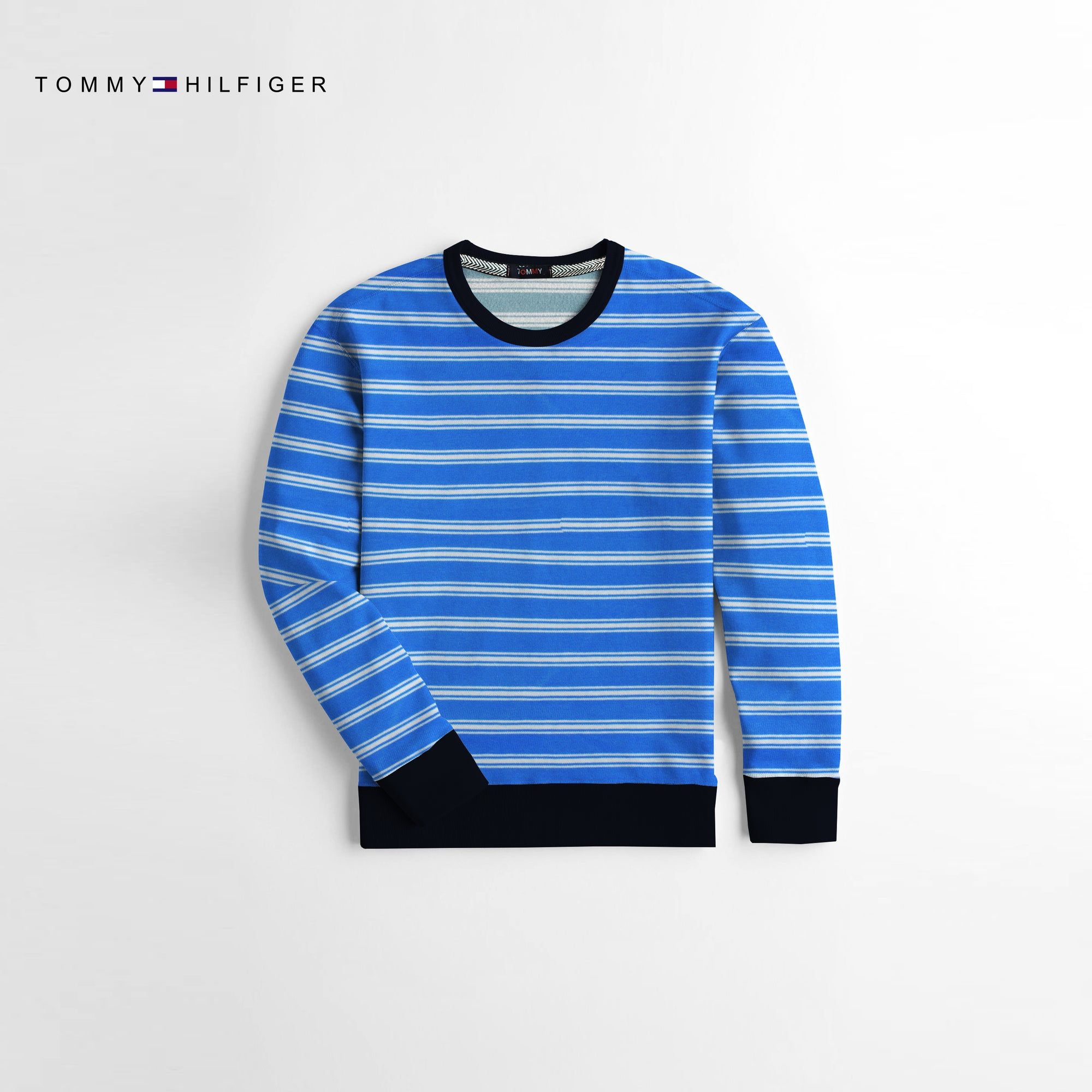 Tommy Hilfiger Crew Neck Terry Fleece Sweatshirt For Kids-White & Blue-NA10678