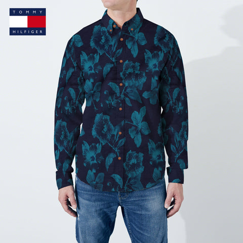 Tommy Hilfiger Long Sleeve All Over Printed Casual Shirt For Men-Dark Navy-NA599